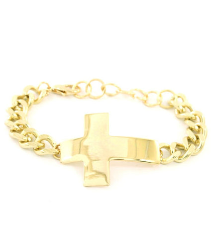 Lobster, Metal, Bold, Statement, Urban Glam, Cross Theme - Gold / AZBRCH004-GLD