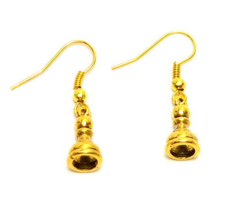 Trendy Fashion SPORTS Chess Pawn Piece Dangle Earrings For Women / AZEACH003-AGL