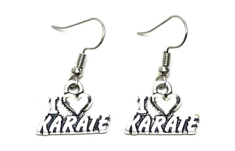 SPORTS Earring : Fashion I Love Karate Dangle Earrings For Women / AZAESE201-ASL