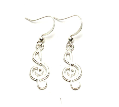Fashion Trendy Handmade Music Treble Clef Music Note Charm Dangle Earrings For Women / AZAEDM401-SIL