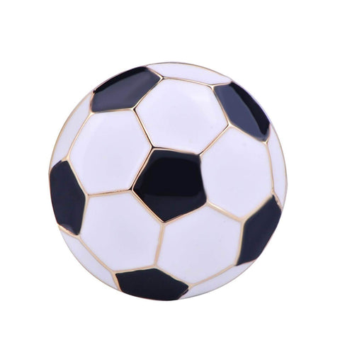 Arras Creations Sports Earring : Fashion Soccer Football Shape Brooch-Pin for Women or Men / AZFJBRA13-GBW