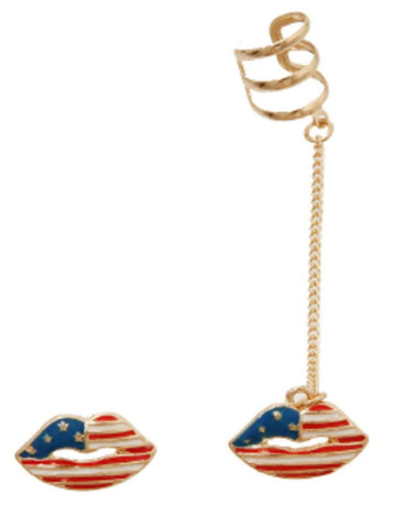 Fashion Trendy American Flag Lip Chain Ear Cuff with a Matching Earrings For Women