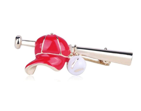 Arras Creations Sports Earring : Fashion Baseball Bat Hat Shape Brooch-Pin for Women or Men / AZFJBRA10-GRD