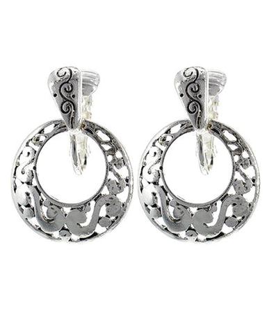 Antique Silver Tone Circle Dangle Filigree Clip-on Earring / AZERAB478-ASL