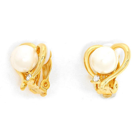 Crystal Imitation Pearl Heart Shape Metal Clip on Earrings / AZERCO917-GPE