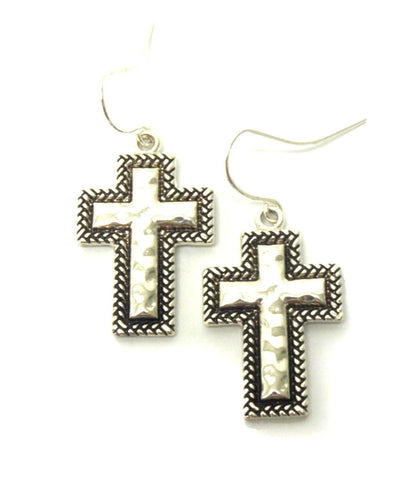 Metal Cross Shaped Textured Fish Hook Earrings / AZERCR012-ASL