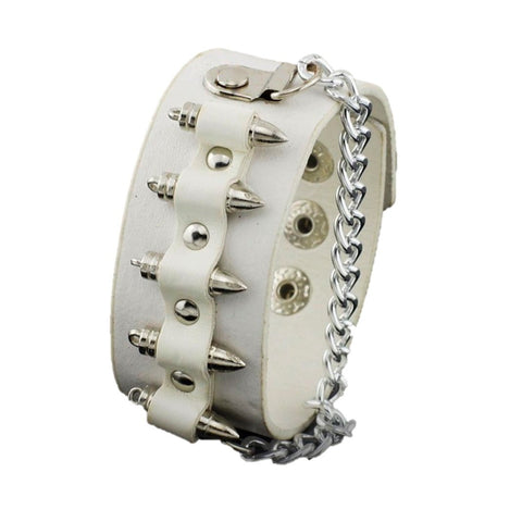 Fashion Gothic Unisex Bullet Shape Chain Link Leather Bracelet For Women / AZBRLBA02-SWH