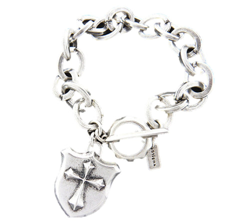 Mens stainless steel wide chain bracelet - Cross shield charm - 9 inch