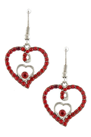 CRYSTAL ENCRUSTED HEART DROP EARRINGS FOR WOMEN