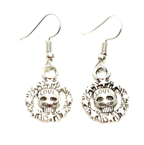 Halloween Fashion Skull Love Dangle Earrings For Women / AZAEHA005-ASL