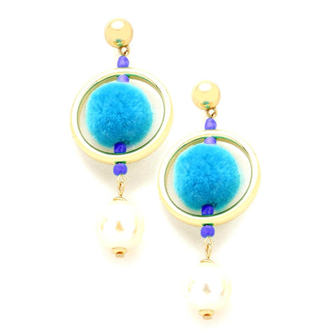 Fashion Trendy Pom Pom Hoop Imitation Pearl Dangle Post Earrings for Women / AZERPP318