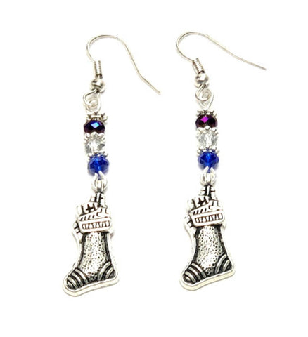 Christmas : Antique Silver Santa' Socks Dangle Fish Hook Dangle Earrings For Women / AZAEXA005-ASL