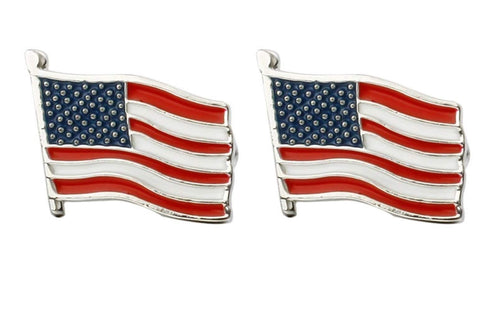 Fashion Trendy Men's French Shirts American Flag Cuff links Cuff lings Cuff Buttons Cufflinks For Men's and Women's / AZCFEA002-RBW