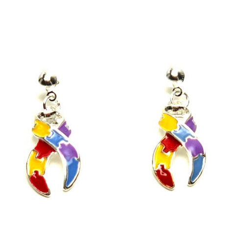 Autism Puzzle Ribbon Dangle Earrings Fashion Novelty Jewelry for Women / AZAEAU003-SMU