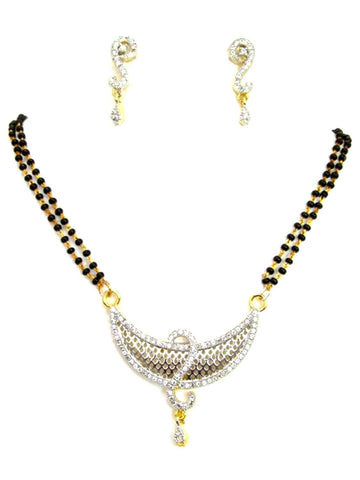 Arras Creations Designer Imitation Mangalsutra Necklace with CZ Pendant for Women / AZMNGC121-GCL