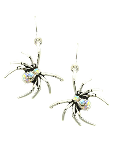Fashion Halloween Spider Dangle Fish Hook Earrings For Women / AZERHE501-SAB