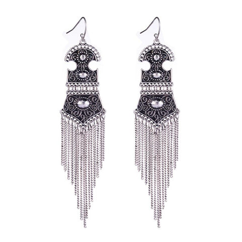 Bohemian Tassel Earrings Statement Drop Earings / AZBTTEA05-ASL