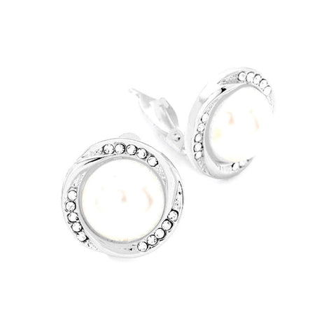Fashion Trendy Rhinestone Imitation Pearl Accented Clip on Earrings For Women / AZERCO347-SPE