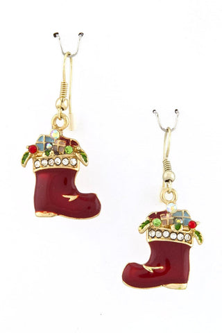Christmas Santa Socks Earrings / AZERFH121-GRD-CHR