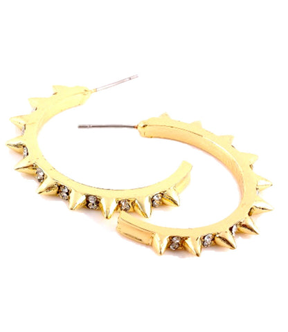 Earrings with Spike & Rhinestone - Gold