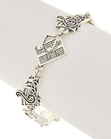 Antique Silver Music Theme Bracelet / AZBBMU003-SIL