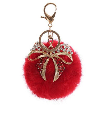 Rhinestone Rabbit Fur Pom Pom with Bow Key Chain / Bag Charm / AZKCPCA03-GRD
