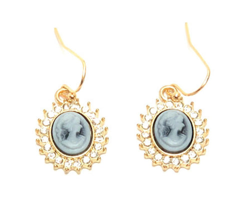 Trendy Fashion Delicate Cameo Lady Cabochon Earrings for Women / AZAELC003-GBK