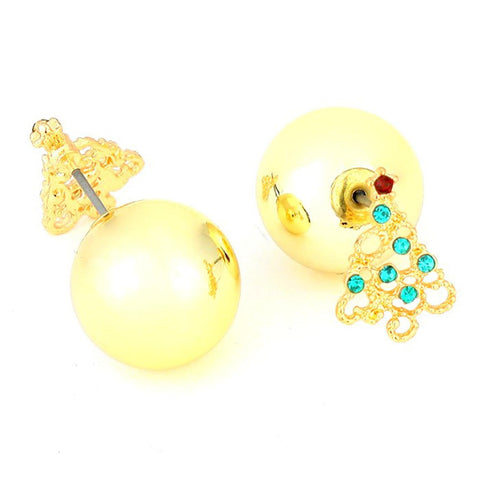 Fashion Trendy Double Sided Christmas Tree Stud Earrings for Women/AZERDS225-GTE