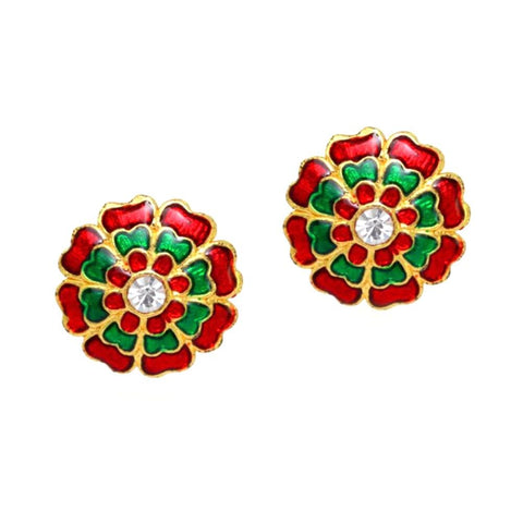 Imitation Flower Shape Fashion Stud Earrings / AZERTE001-GRG