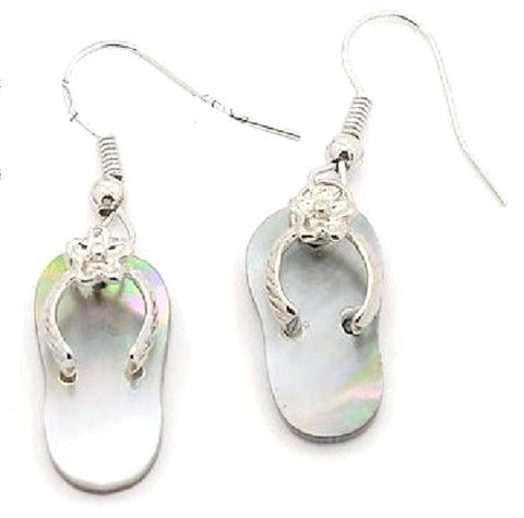 Silver Tone Shell Flip Flop Dangle Earring / AZERFF009-SIL