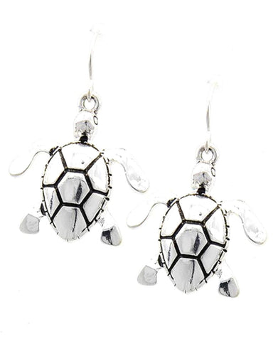 SEA LIFE Antique Silver Tone Turtle Dangle Fish Hook Earring / AZERSEA477-BSL