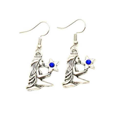 Fashion Trendy Virgo - Zodiac Sign Dangle Earrings For Women / AZAZVI002-ASB