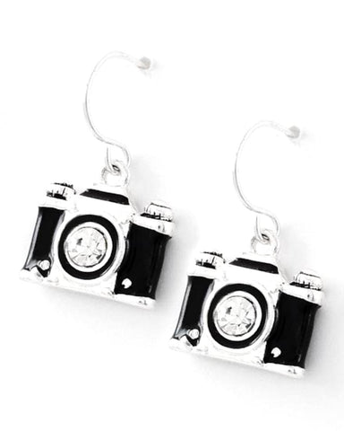Fashion Trendy Camera Dangle Fish Hook Earring Set For Women / AZERFH313-SBK