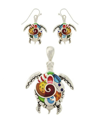 Sea Life Theme Turtle Pendant Set / AZNSSEA648-SMU