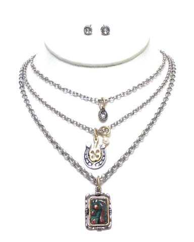 Western Three Layer Chain Western Horse Charm Necklace Set for Women