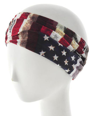 American Flag Print Fabric Headband / Hair Accessory / AZFJPB424-RBW-PAT