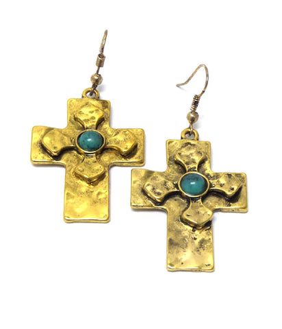 Fashion Trendy Textured Metal Cross with Stone Fish Hook Cross Earrings For Women / AZERCR005-GTU