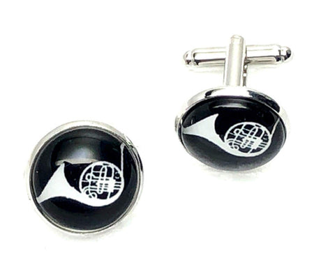 Musical Instrument French Horn French Shirts Music French Horn Cufflinks Cuff lings Cuff Buttons Cuff Link For Men's and Women's / AZCFMU106-SBK