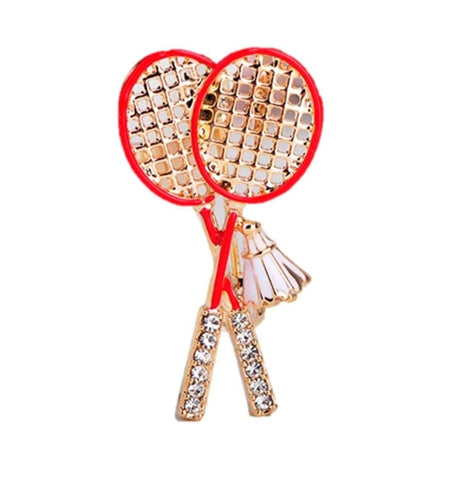 Arras Creations Sports Earring : Fashion Badminton Racket Brooch-Pin for Women or Men / AZFJBRA16-GRD