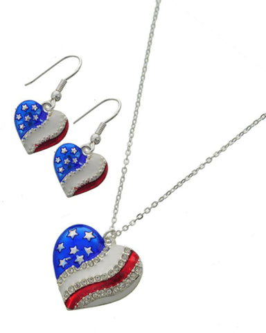 Patriotic American Flag Heart Delicate Necklace & Earring Set