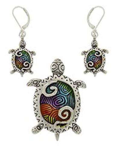 Sea Life Theme Turtle Pendant Set / AZNSSEA468-SMU