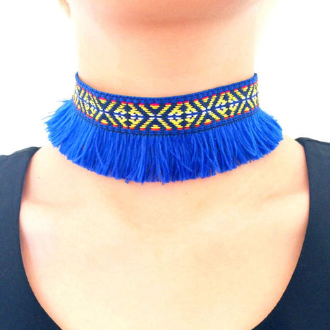 Arras Creations Fashion Ethnic Tribal Fringe Bohemia Choker for Women / AZFJCKA01