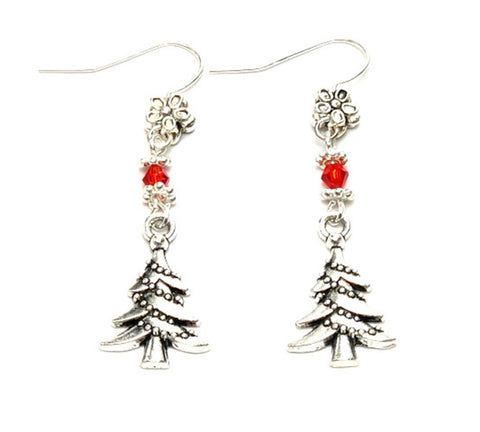 Christmas : Antique Silver Christmas Tree Dangle Fish Hook Dangle Earrings For Women / AZAEXA002-ASL