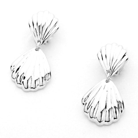 SEA LIFE : Fashion Sea Shell Double Drop Clip On Earrings For Women / AZERCO104-SIL