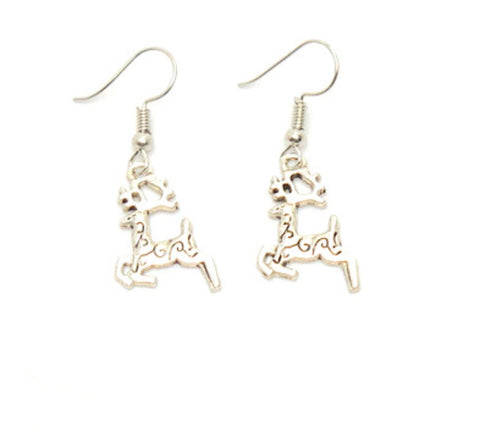 Christmas : Reindeer Dangle Fish Hook Earrings For Women / AZAEXA027-ASL