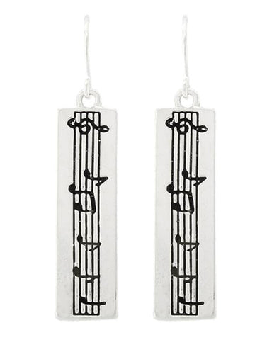 Music Note Dangle Fashion Earring Set / AZERMU734-SIL