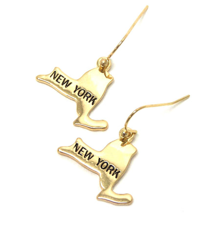 Premier Electro Plating State of New York Earring / AZERST004-GLD-NY