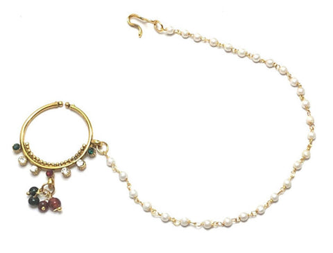 Indian Style Designer Traditional Nose Ring with Chain to Ear - No Pierce For Women