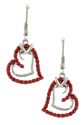 Double Heart Drop Earrings for Women
