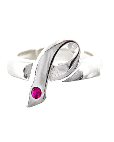 Breast Cancer Awareness - Message Pink Ribbon Stretch Ring For Women